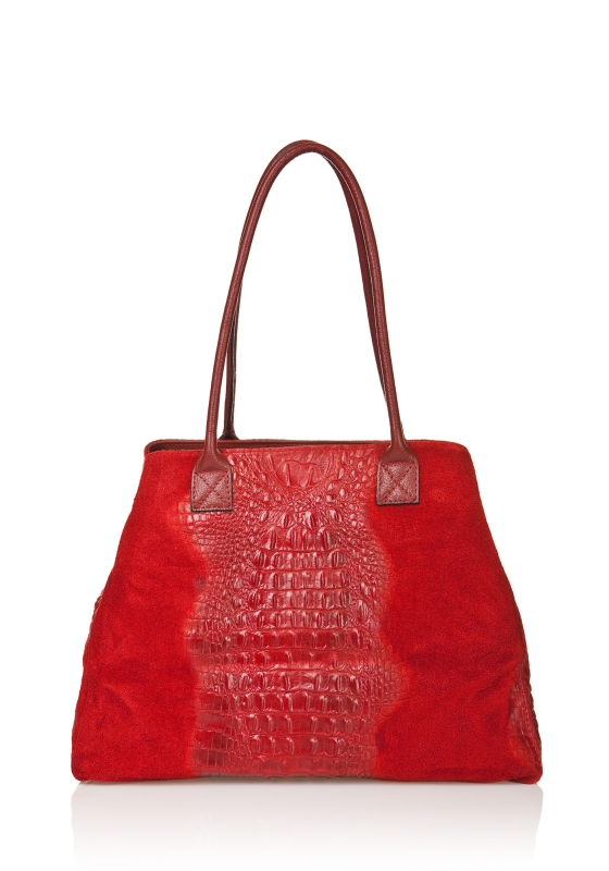 Italian Leather Bag With Croc Effect