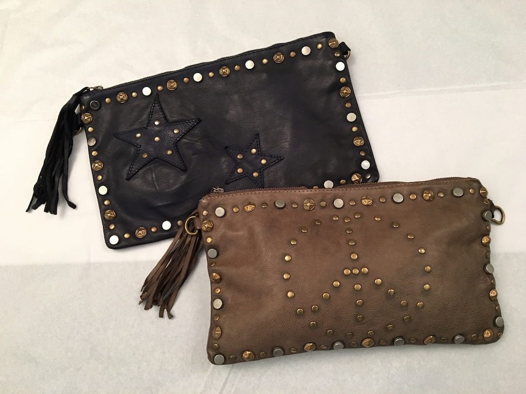 Rustic Leather Bag With Peace and Stud Detail