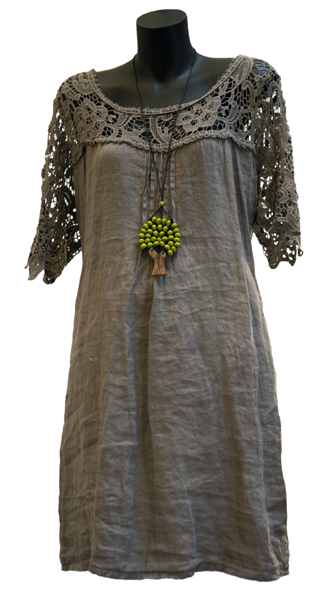 Linen Dress with Lace Sleeves