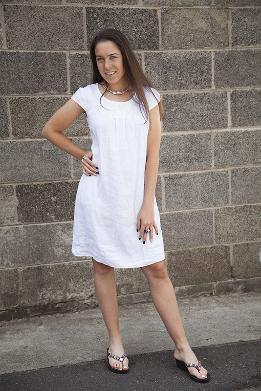Linen Dress With Lace Front Yoke and Sequin Detail