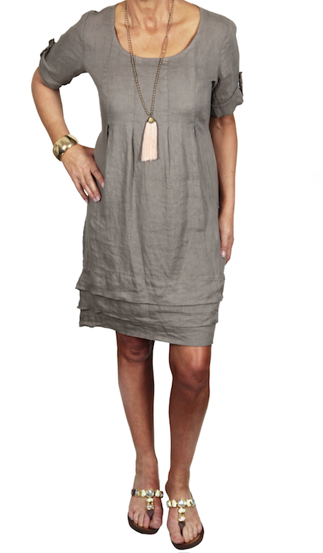 Layered Linen Dress with Short Sleeves
