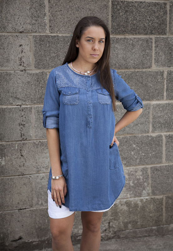 Tencel Shirt Dress With Sequins