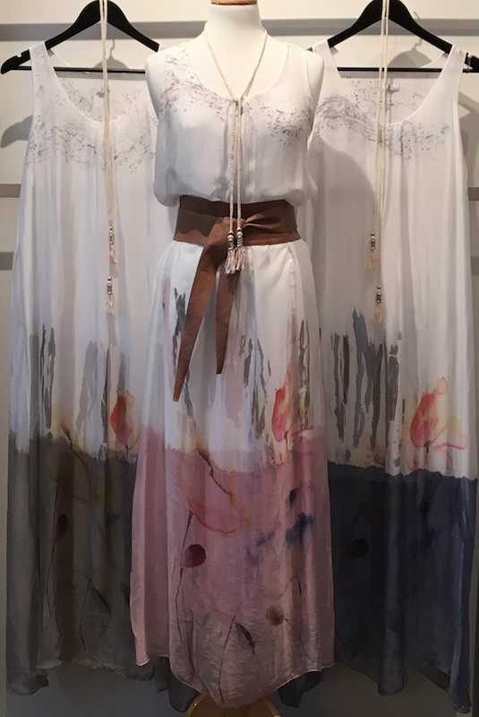 Hand Painted Silk Dress With Tassel Tie