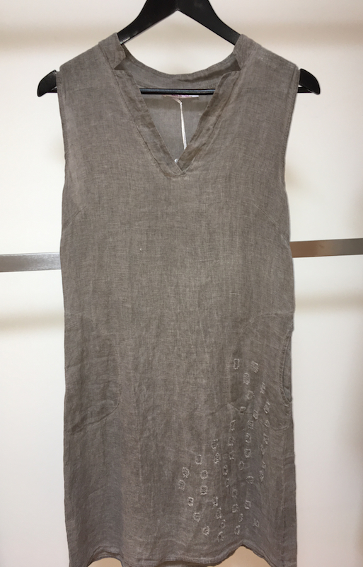 Sleeveless Linen Dress With Perforations