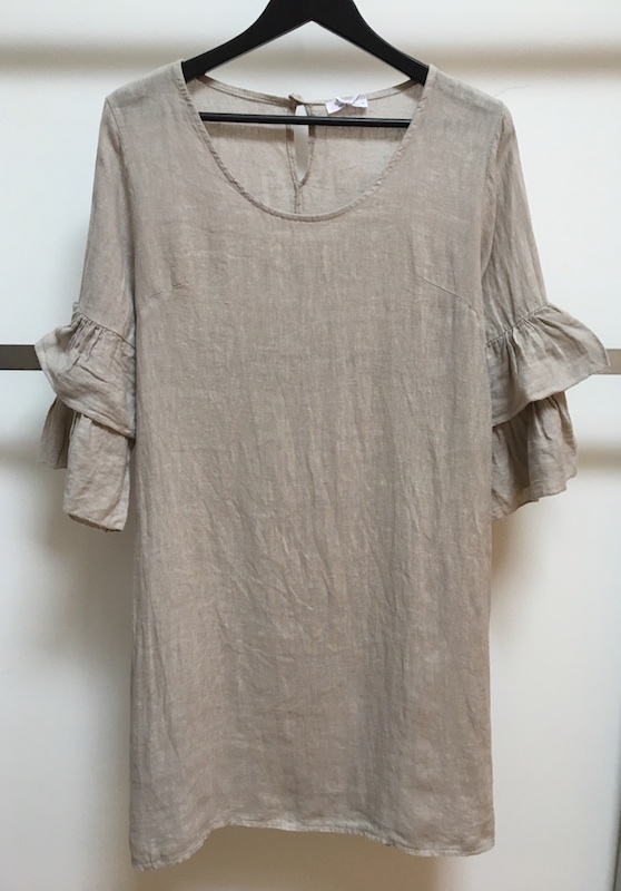 Linen Dress with Bell Sleeves