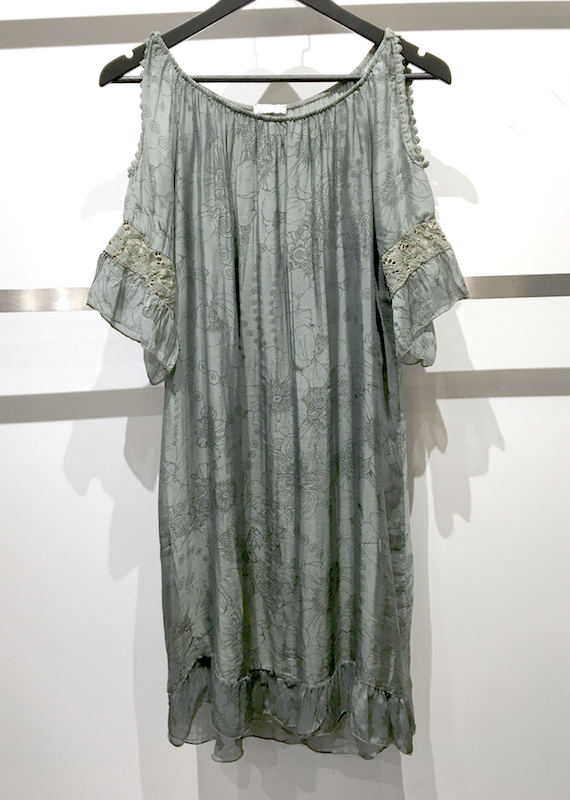 Silk Print Dress with Cut-Out Sleeve (Off-Shoulder)
