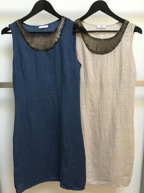 New Linen Dress With Beaded Neckline