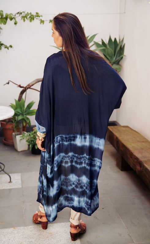 Tie Dye Cape In Silk Crepe de Chine