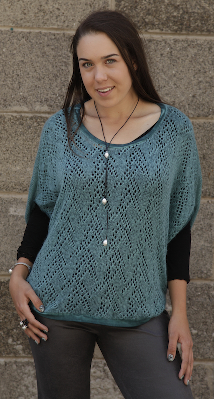 Vintage Wash Poncho With Crochet Details
