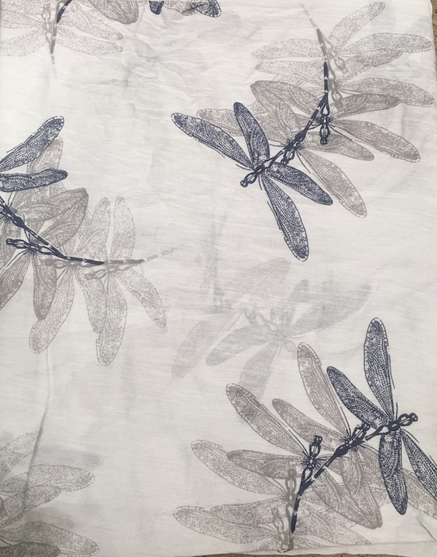 Italian Silk/Cotton Dragon Fly Print Scarf