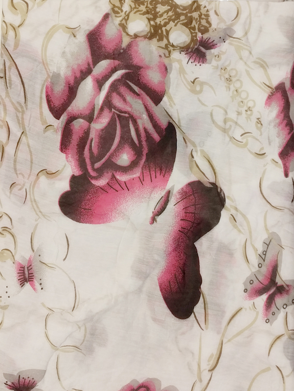 Italian Silk/Cotton Large Rose and Butterfly