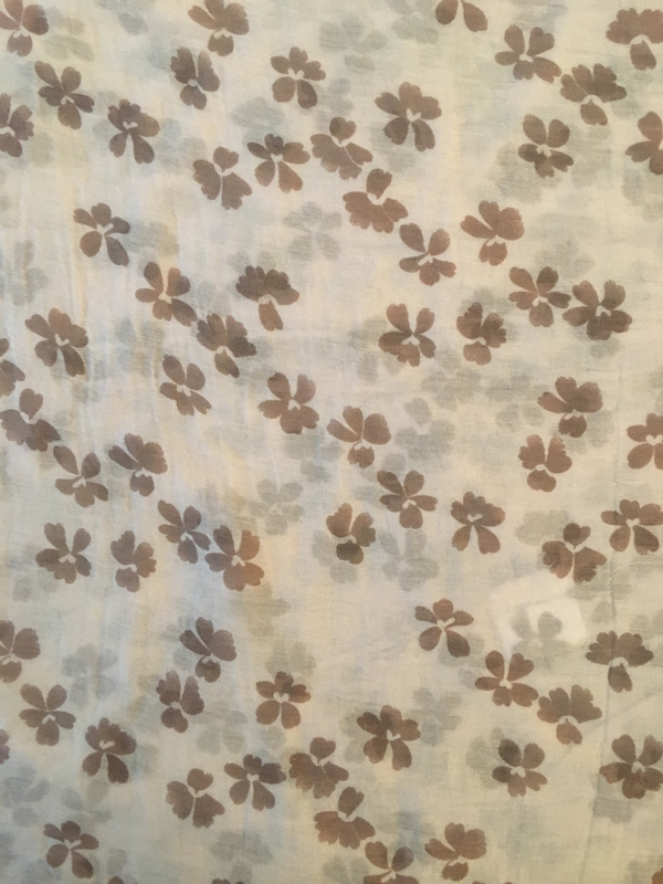 Italian Silk/Cotton Scarf With Small Flower Pattern