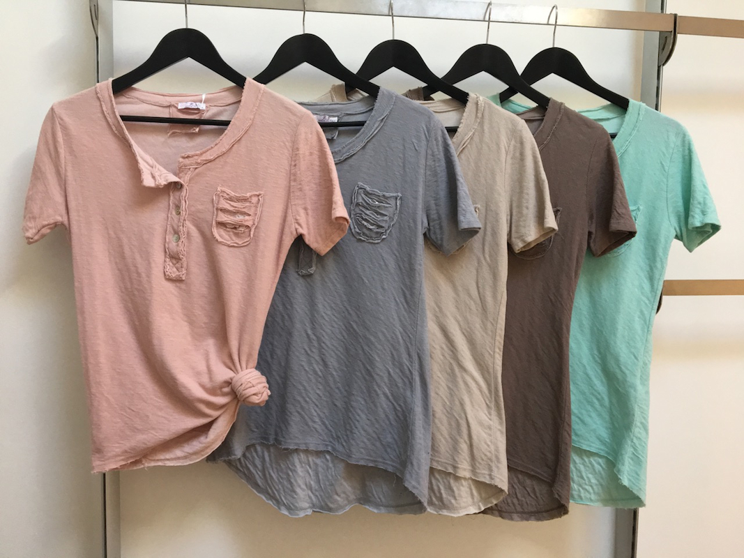 Round Neck Tee with Button Front and Pocket Detail