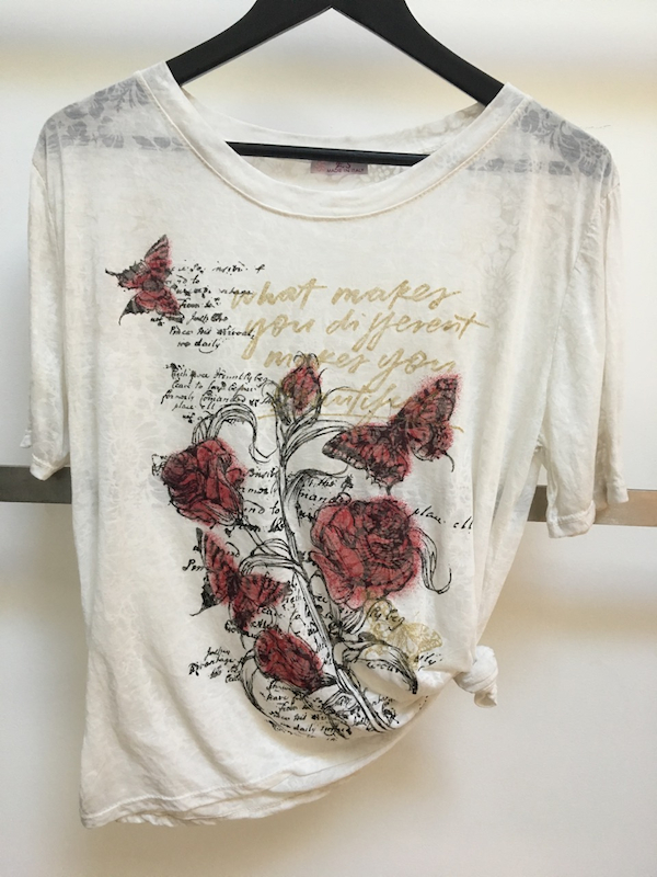 Embossed Lurex Tee with Butterfly and Rose Print