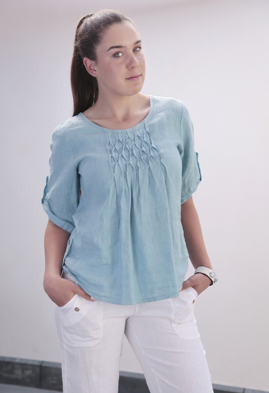 Linen Top with Front Pleats and Side Button Detail