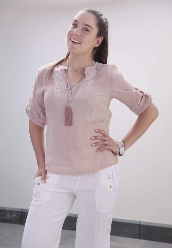 Linen Top with Lace Panel Detail