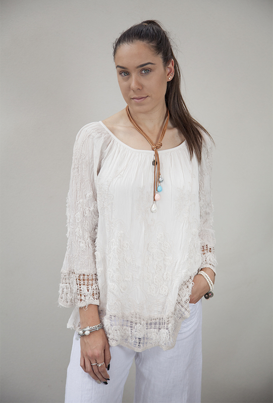 Silk/Viscose Three Quarter Sleeve Top With Embroidery Detail