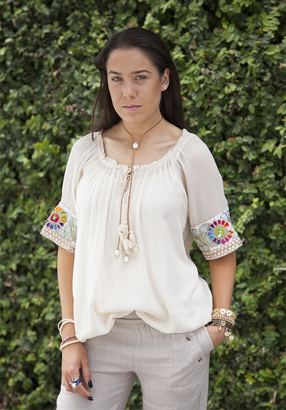 Gypsy Top With Colourful Applique Sleeve Detail