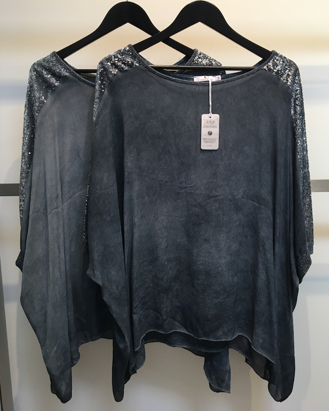 Crepe de Chine Vintage Wash Top With Sequins