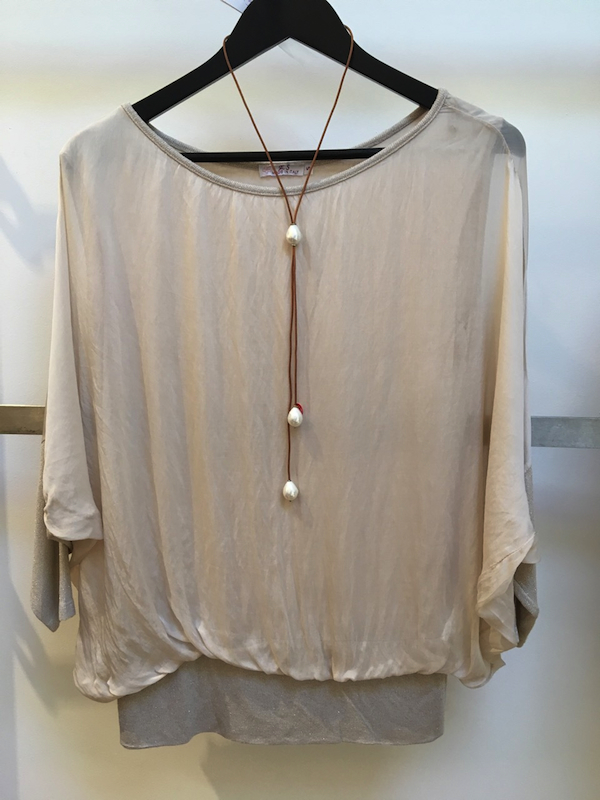 Silk Batwing Top with Lurex band