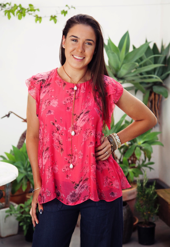 Floral Silk Top With Short Sleeves
