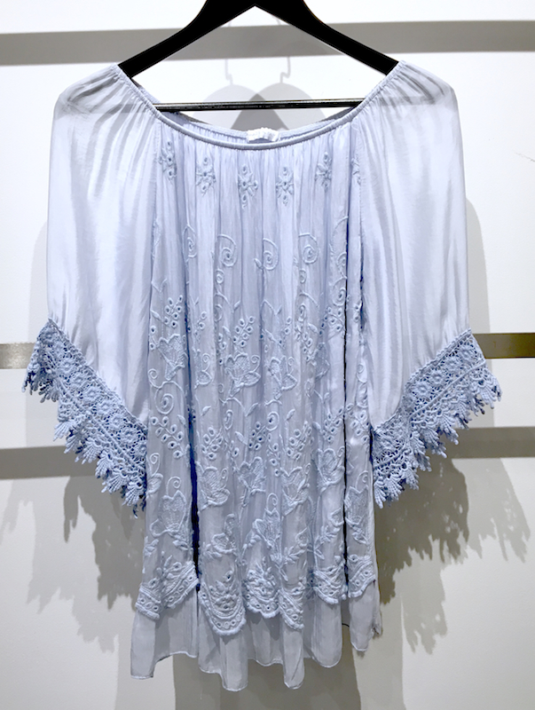 Embroidered Silk Top with Lace Detail (Off-Shoulder)