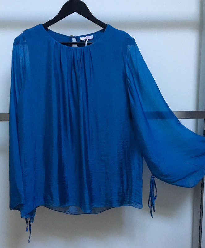 Silk Top with Bell Sleeve