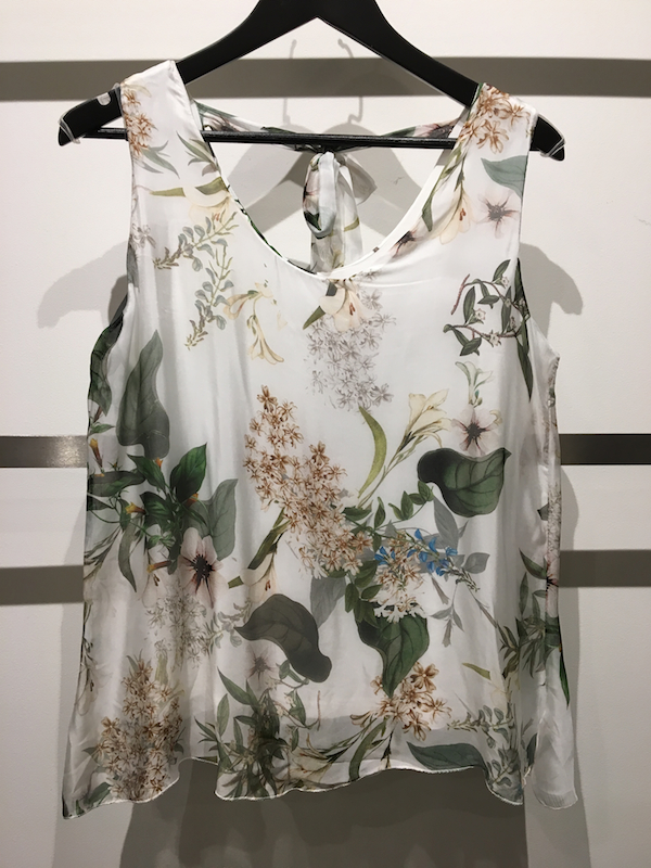 Spring Garden Print Sleeveless Top with Back Tie