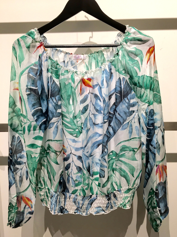 Tropical Print Silk Top With Camisole
