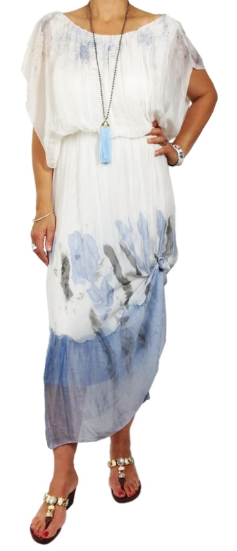 Silk Hand Painted Dress with Elasticised Waist