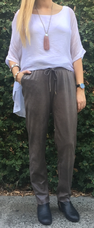 Vintage Wash Suedette Pants With Draw String