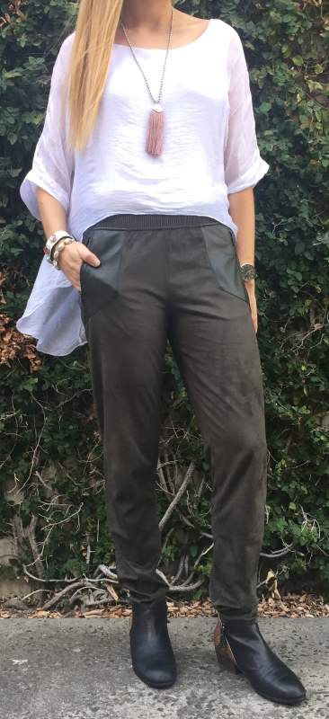 Suedette Pants With Contrast Pocket