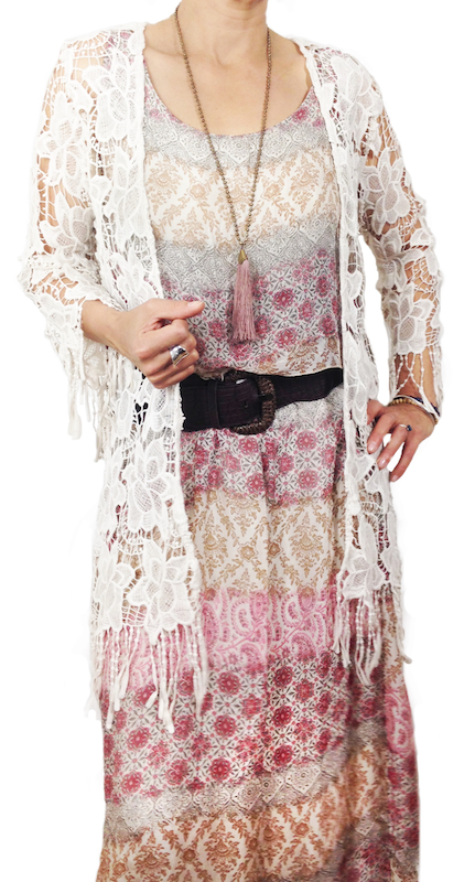 Long Line Lace Cape with Fringing