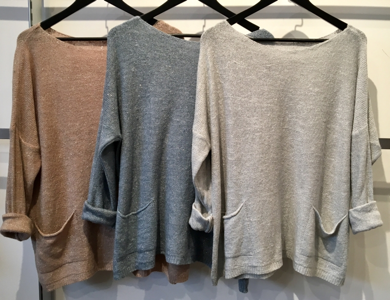 Wool/Lurex Blend Knit with Pockets